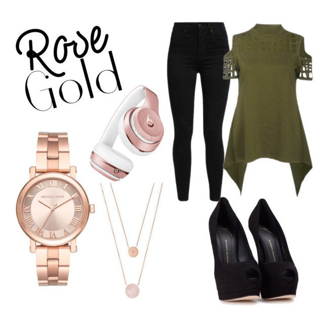 """""""Rose Gold love 😍"""" by jaymie-schokolade on Polyvore featuring Michael Kors, Levi's, Beats by Dr. Dre and Giuseppe Zanotti"""