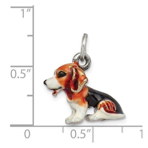 Sterling Silver Enameled Small Beagle Charm 925 Pendant Silver