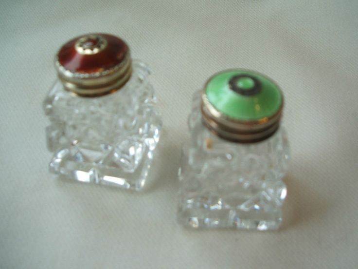 Pair of Norwegian Silver and Enamel mounted Cut Glass Salt and Pepper