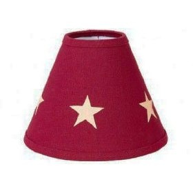 Lampshade - Barn Red Star - Primitive, Country Rustic Lighting Accessory $19.99