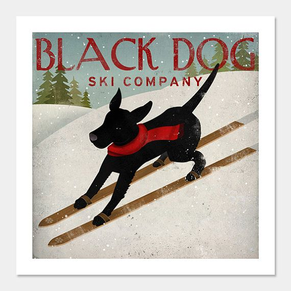 Black Dog Ski Company GICLEE PRINT 12 X 12 inches SIGNED