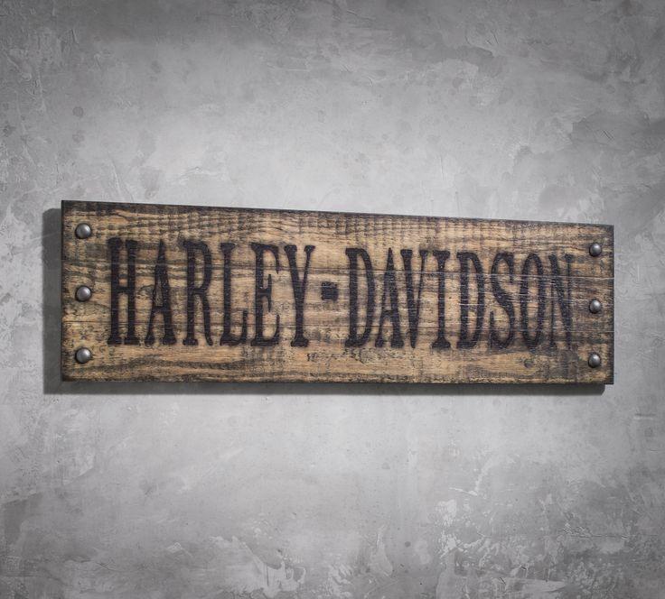 Garage, workshop, deck, tool shed, bar, man cave…you get the idea. | Harley-Davidson Studded Wooden Sign