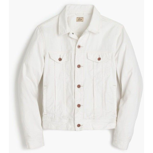 J.Crew Denim jacket in white ($118) ❤ liked on Polyvore featuring men's fashion, men's clothing, men's outerwear, men's jackets, mens white jean jacket, mens white denim jacket, j crew mens jackets and mens white jacket