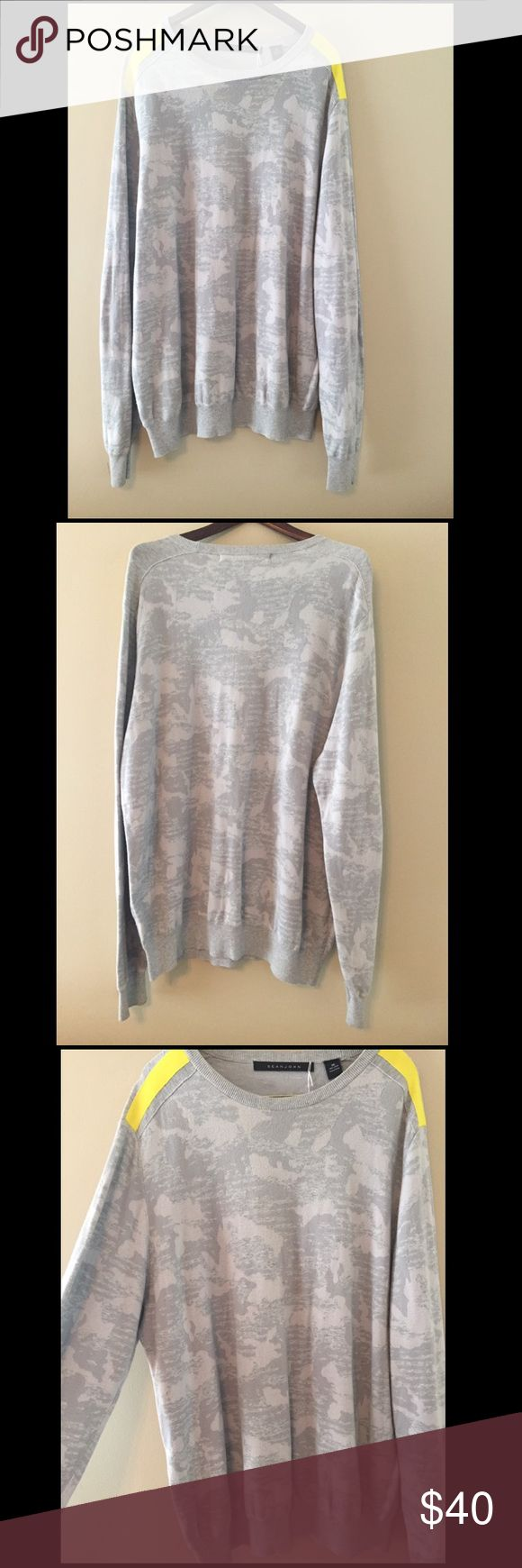 Sean John Textured Gray Big & Tall Sweater Really Nice Crew Neck Sweater! // Men's Size 3XL // Neon Yellow Stripe on Shoulder // Gray Textured Camo-Style Print Sean John Sweaters Crewneck
