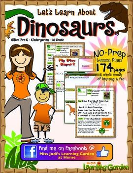 174 Pages of Dinosaur Learning and Fun!One month's worth of NO PREP lesson plans!31 Dinosaur Words Calendar Cover Ups and daily lesson plans for each of those 31 days!10 Original Songs3 Popular Dinosaur Book Reading Response Sheets includingThe Dinosaur Who Lived In My Backyard, Fossils Tell of Long Ago and The Littlest Dinosaur21 Dinosaur Worksheets24 Original Crafts with instructions, samples and patternsCraft Recipes11 Dinosaur Information Sheets42 Dinosaur Clip Art Images21 Full Color…