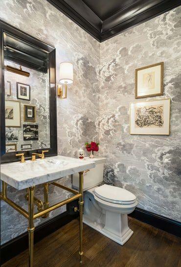Dover Road, Powder Room Bath Contemporary Transiti…