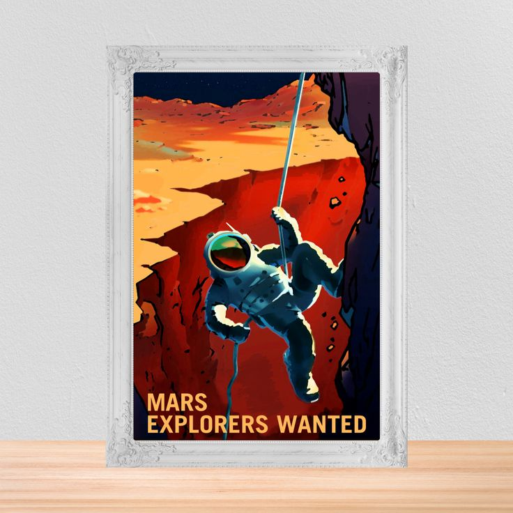 Travel Themed Bedroom For Seasoned Explorers: Retro Space Poster, NASA Space Poster Of Mars Explorers