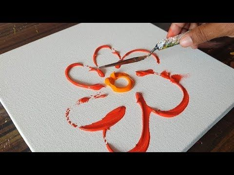 RED / Abstract Painting / Floral motifs / Demonstration in acrylic paints and a palette knife / Project 365 days / Day No. 0255 – YouTube
