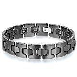 #10: JewelryWe メンズ ブレスレット クラシックシンプル セラミック ゲルマニウム 記念日 誕生日 バレンタインデー プレゼント彼女/彼氏 ブラック