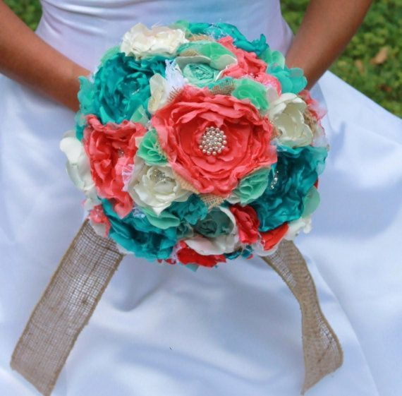 Turquoise and Coral Wedding Bouquets | Ivory Coral turquoise mint and burlap romantic by CraftyFrills, $220 ...