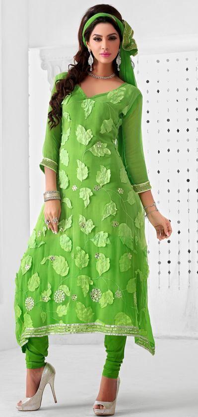 $58.38 Green Faux Georgette Resham and Mirror Work Churidar Salwar Suit 26196