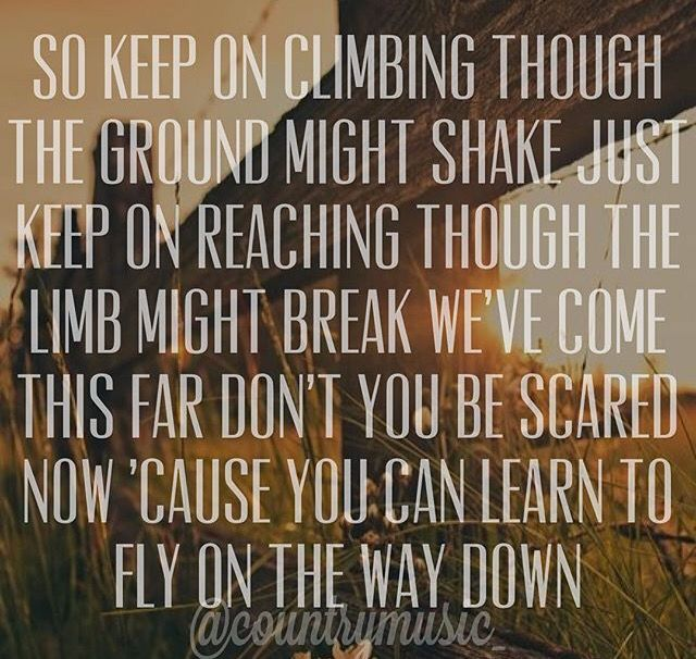 """So keep on climbing though the ground might shake, just keep on reaching though the limb might break. We've come this far, don't you be scared now cuz you can learn to fly on the way down."" Fly Lyrics by Maddie and Tae"
