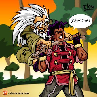Adivina que dice Yugga. Escena de Doroyen peleando contra Yugga escena para manga independiente en Cibercali Comics.