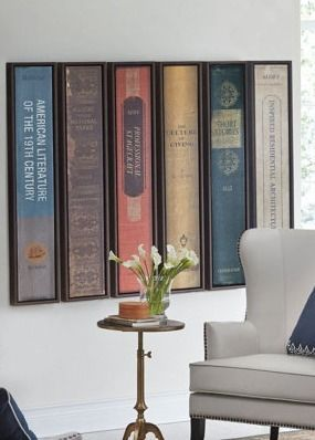 book art ~ imagine your own books mounted on the wall, spines out!