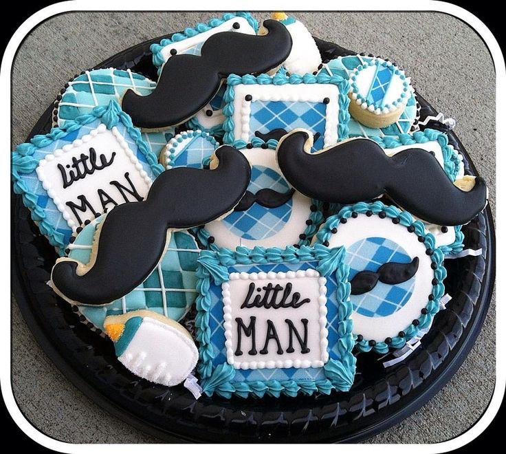Little Man Mustache Baby Shower Cookies