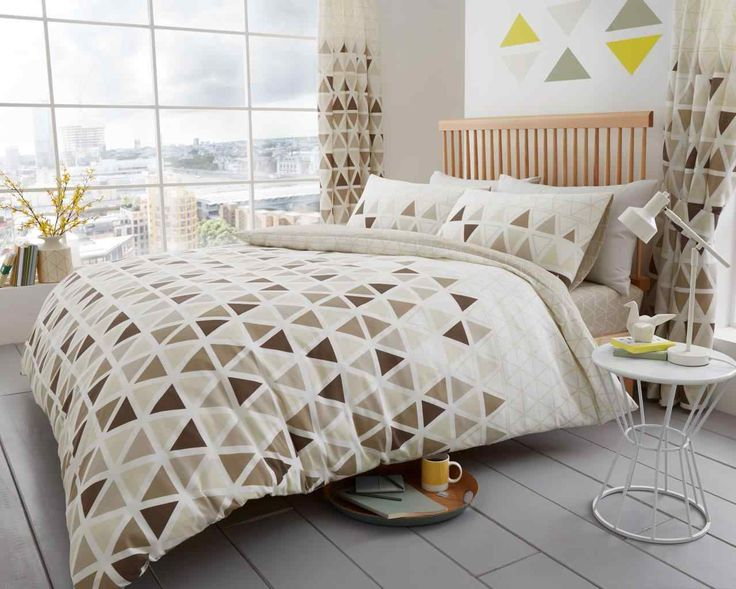 Geo Triangle Natural Duvet Quilt Cover Bedding Set – Linen and Bedding