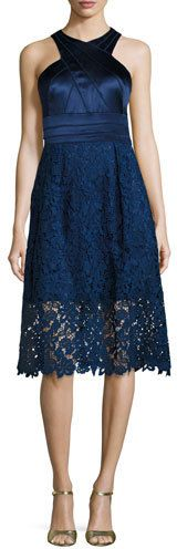 Kay Unger New York Sleeveless Satin & Lace Cocktail Dress, Indigo