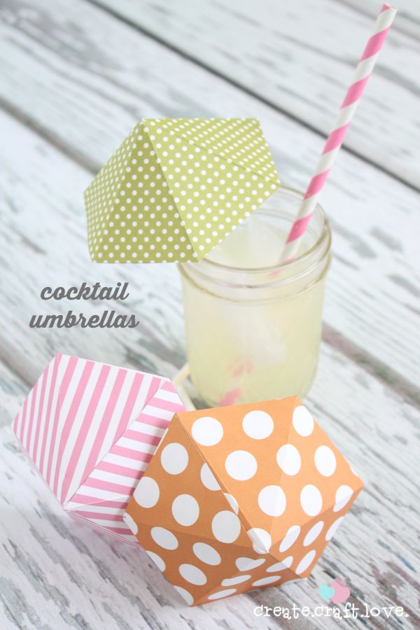Create your own Cocktail Umbrellas!  via createcraftlove.com: 36Th Avenu, Drinks Umbrellas, Diy'S, Summer Drinks, Parties, Cocktails Umbrellas, Diy Cocktails, Diy Drinks, Crafts