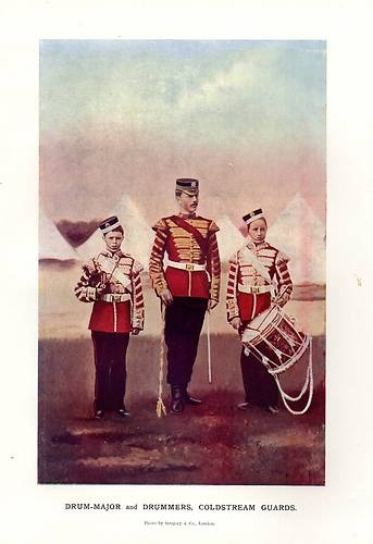 1900 PRINT ~ BOER WAR ~ DRUM-MAJOR & DRUMMERS COLDSTREAM GUARDS