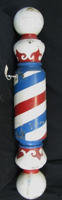 Antique Painted Wooden Barber Pole Trade Sign - I have ALWAYS wanted one of these!! Billie #shopkick #treatyourself