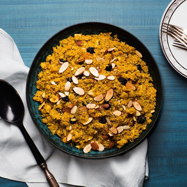 """Cauliflower """"Couscous"""" With Dried Fruit and Almonds"""
