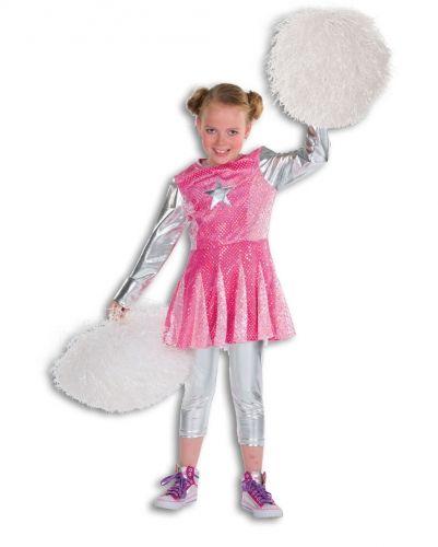 Roze cheerleader kostuum voor meisjes. Cheerleader pakje voor meisjes, bestaande uit een jurkje met petticoat. Carnavalskleding 2015 #carnaval