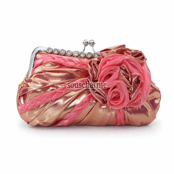 Pochette soirée rose en satin réfléchissant rehaussé de fleur et tresse pochette portefeuille femme pas cher