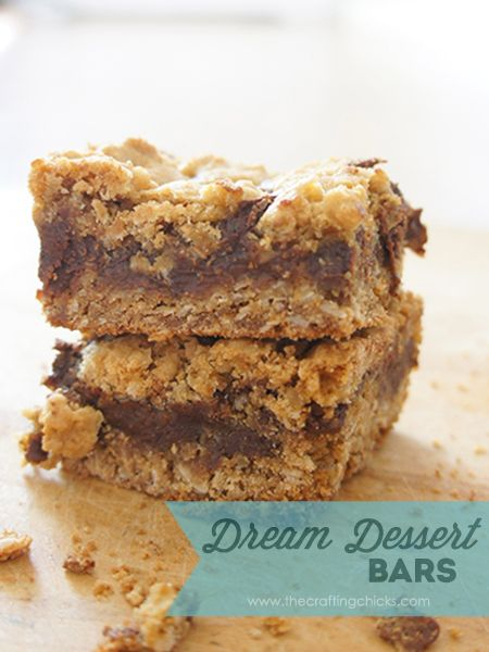 There's a reason they call these Dream Dessert Bars--you'll be dreaming about them for day! Basically a creamy chocolate filled blondie. So good!