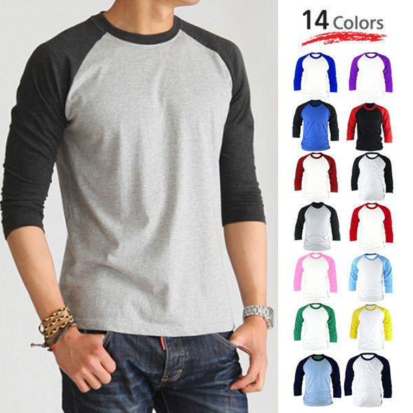 3 4 raglan sleeve baseball tshirt mens activewear casual t shirts top tee jersey mens. Black Bedroom Furniture Sets. Home Design Ideas