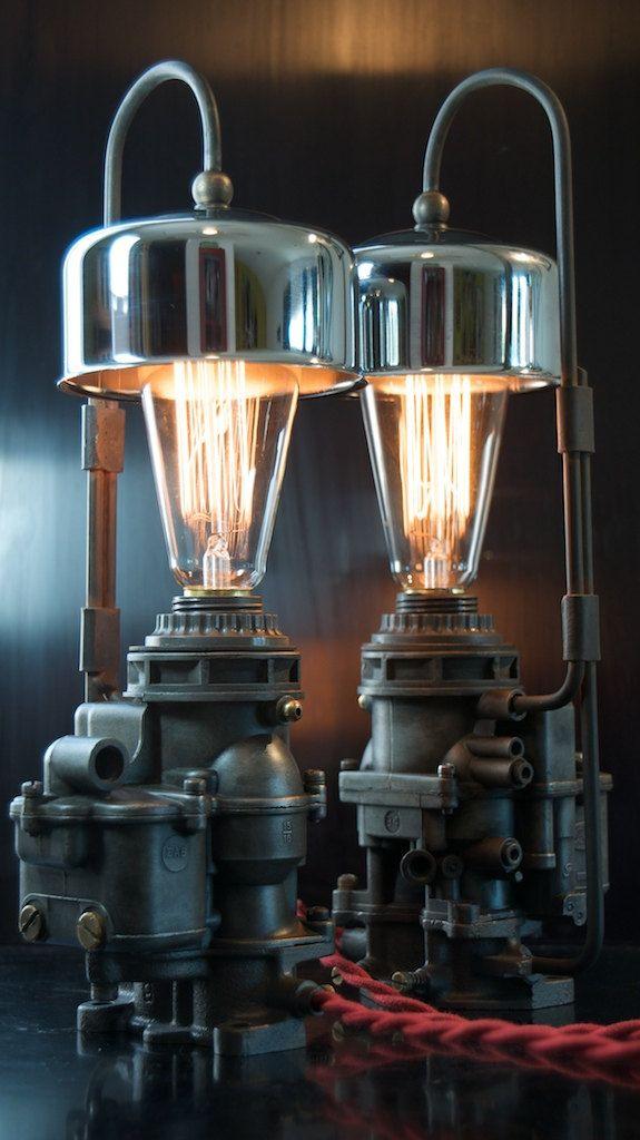 Machine Age/Dieselpunk Ford Carburetor Lamp with Air Cleaner shade. $295.00, via Etsy.