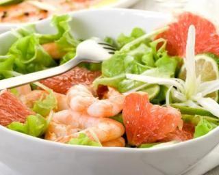 Salade de cevettes et pamplemousse au citron vert