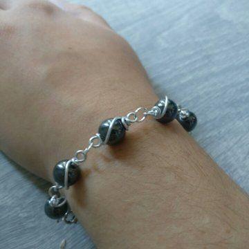 Handgemaakt - Armband - Wire wrapping - Hematiet - Edelsteen - €20,-