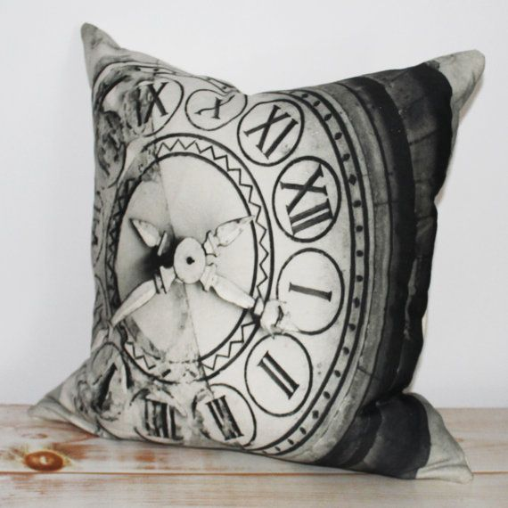 Decorative Pillow with black & white print inspired by Paris and clock on St.-Germain-des-Pres, Paris.