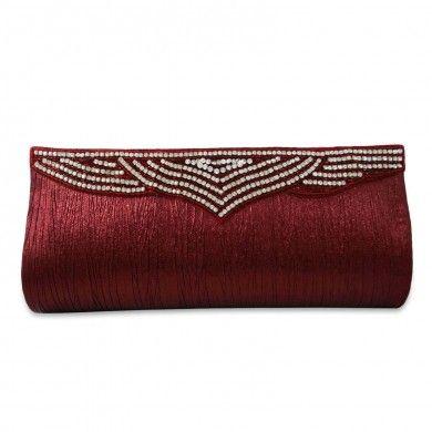 Designer Women Purse Faux Leather Red Wedding Clutch Rhinestone Brooch Handbag