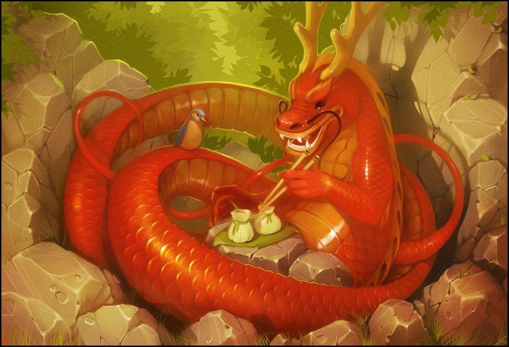 дракон лес китайский дракон птица фантазия арт