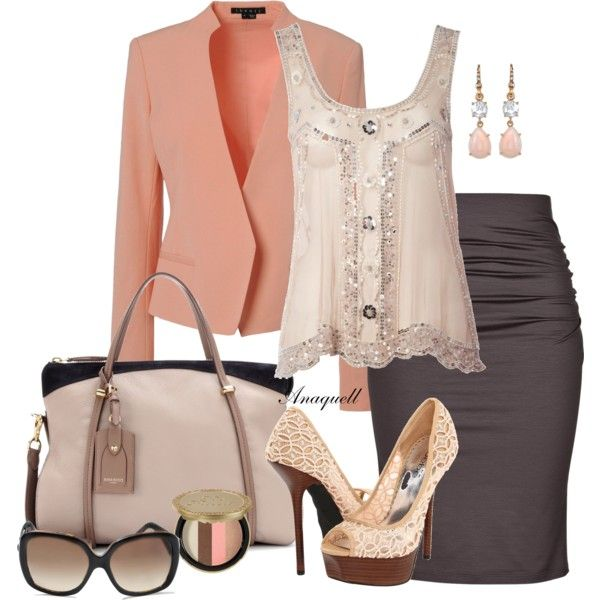 Beige Brown Coral/Peach Outfit