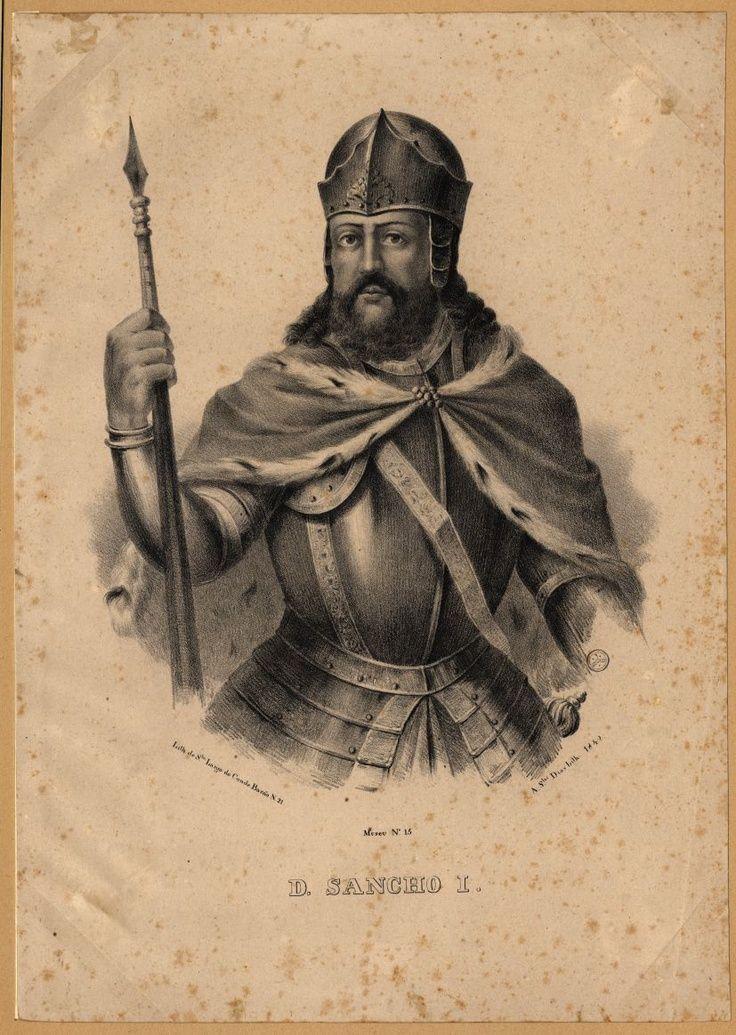 El- Rei D. Sancho I de Portugal nasceu, em Coimbra, a 11 de Novembro de 1154 - Coimbra, 26 de Março de 1211), cognominado o Povoador (pelo estímulo com que apadrinhou o povoamento dos territórios do país - destacando-se a fundação da cidade da Guarda, em 1199, e a atribuição de cartas de foral na Beira e em Trás-os-Montes: Gouveia (1186), Covilhã (1186), Viseu (1187), Bragança (1187)... Editorial: Real Lidador Portugal Autor: Rui Miguel Fonte: Biblioteca Nacional Digital