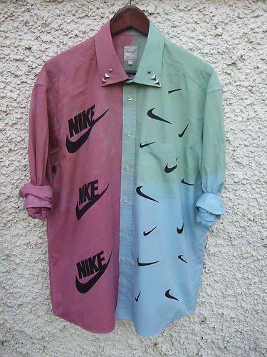 Dip Tie Dye Ombre Shirt Dress Grunge 90s Nike Mock Print Studs Studded