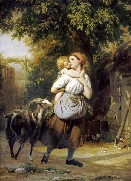 F. Zuber-Buhler - A Mother And Child With A Goat