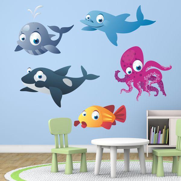Acquario - Adesivi per bambini - Adesivi murali bambini mare a kit. #adesivimurali #decorazione #modelli #mosaico #orca #polpo #balena #StickersMurali