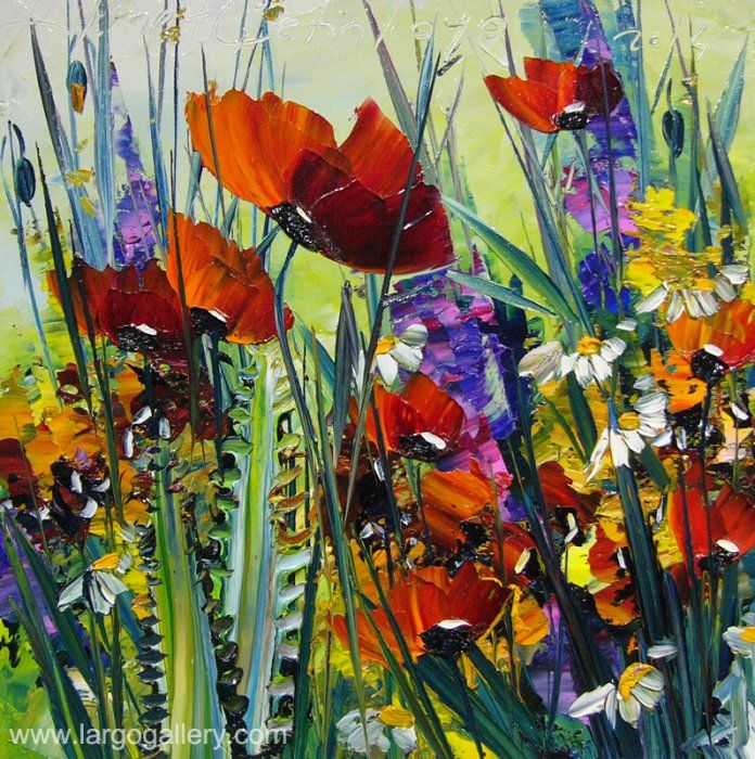 "http://www.largogallery.com/ Hikmet Cetinkaya, ""Poppies"", oil, canvas, 30/30"