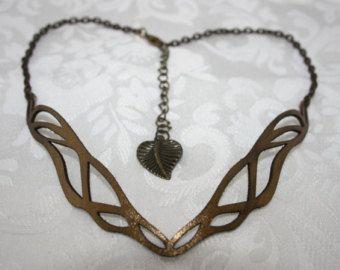 Bronze laser cut leather Art Nouveau necklace.