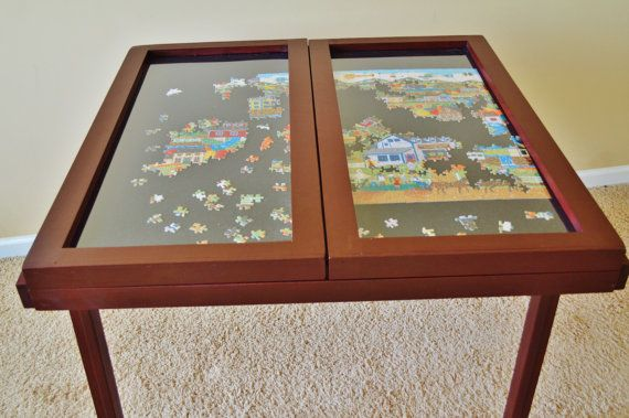 Windowpane Puzzle Table by WoodBuckle on Etsy