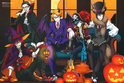 """artbooksnat: """"I'm pretty sure this Black Butler Book of Circus (黒執事 Book of Circus) poster illustrated by animation director Mika Sawada (澤田美香) in Prince Animage (Amazon JP) is hands down the best Halloween art I've seen in any anime magazine this..."""