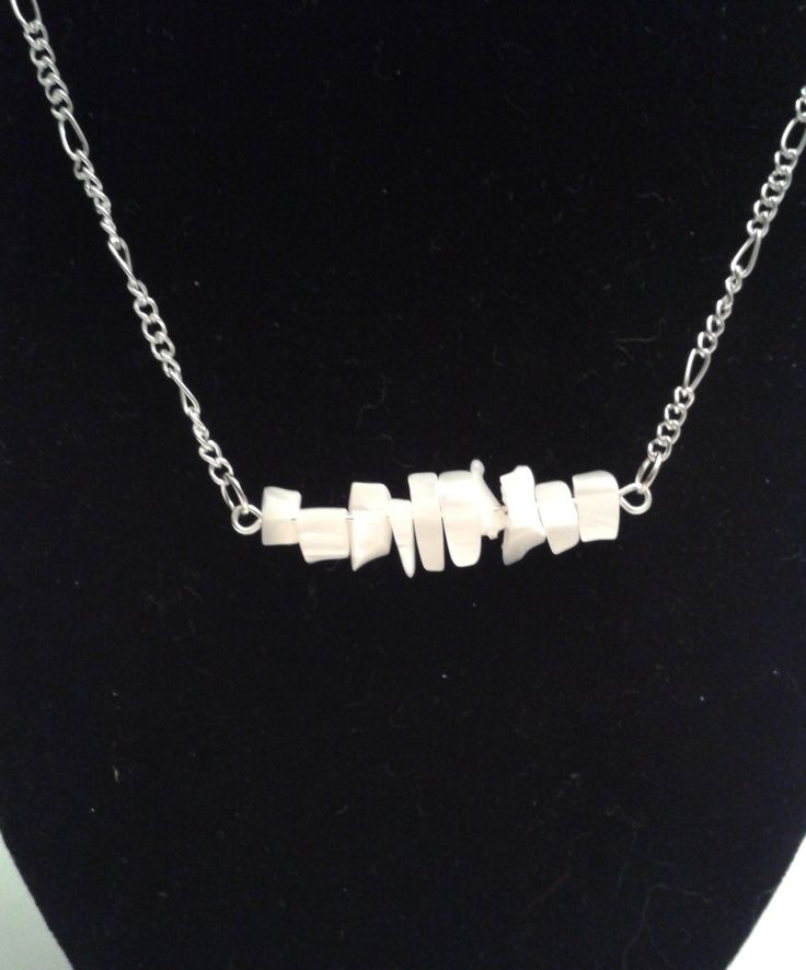 Mother of Pearl bar necklace by jennsbling on Etsy