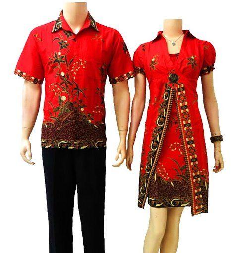baju batik sarimbit modern warna merah