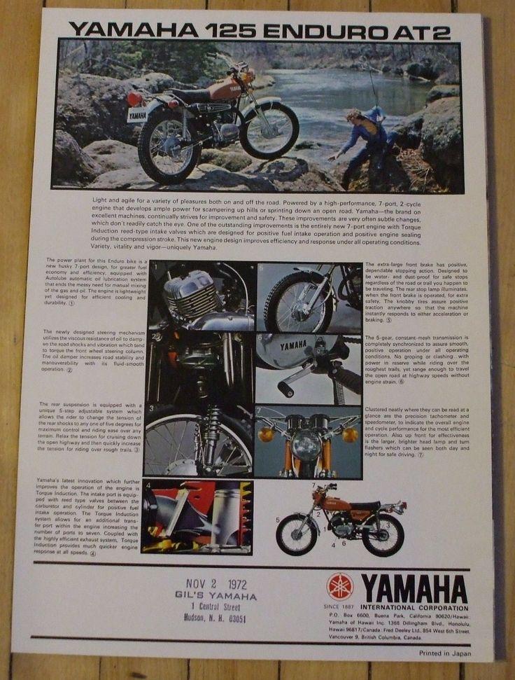1972 Yamaha 125 Enduro AT2 Motorcycle Dealer Sales Brochure Nice | eBay