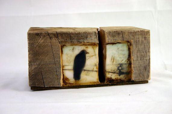 ingridArtStudio: Birds Birds, Hiding Places, Reclaimed Barns Wood, Boxes Crows, Mornings Crows, Crows Originals, Black Birds, Mixed Media Paintings Birds, Ingridartstudio Encaustic