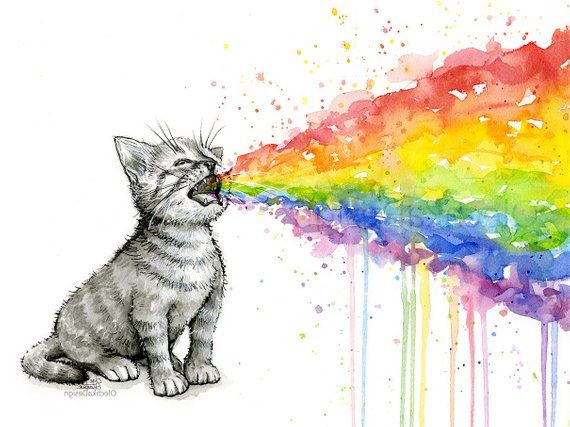 Rainbow Animals Prints Rainbow Watercolor Animals Rainbow Gifts