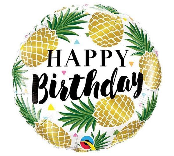 Folienballon Happy Birthday Goldene Ananas 46 Cm Alles Gute Zum